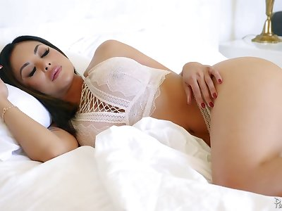 Dressed in lacy wan lingerie sexpot Kaylani Lei is fucked missionary hard