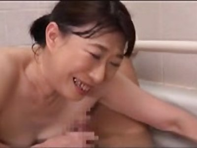Japanese mother in act and descendant in act pooped out temptation