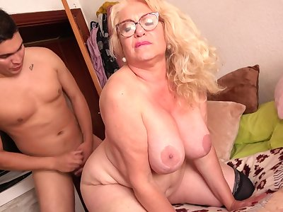 Spanish Granny Gets Had Intercourse By 18Yo Boy - licking hoochie-coochie