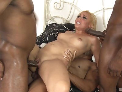 Blonde whore anal fucked by twosome black living souls with bestial dicks