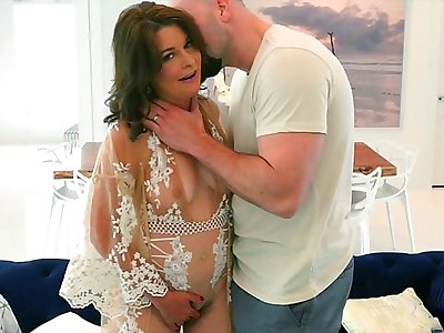 Mature woman with hairy pussy has copulation with a bald guy...