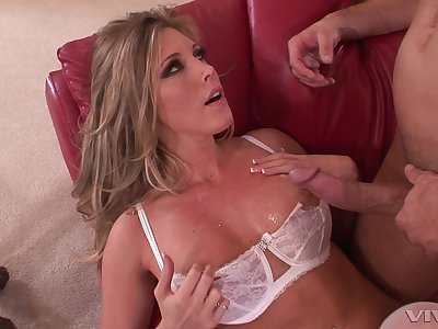Order about blonde wife Samantha Saint in white underclothes milking a cock