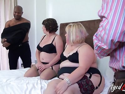 Group interfere with porn video featuring two chubby aged housewives in sexy outfits