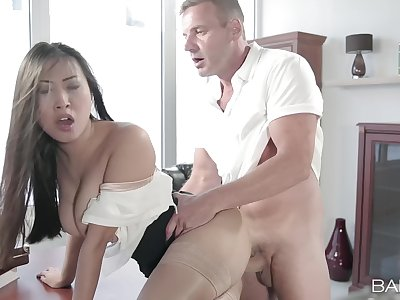 Aroused Asian MILF sitting duck her cunt with the man's energized monster