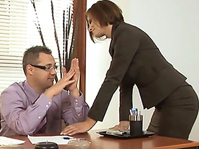 Horny Glum MILF Visits Her Boss In The Office