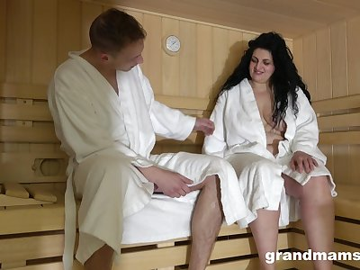 Gungy haired chubby full-grown nympho is fucked doggy at hand the sauna