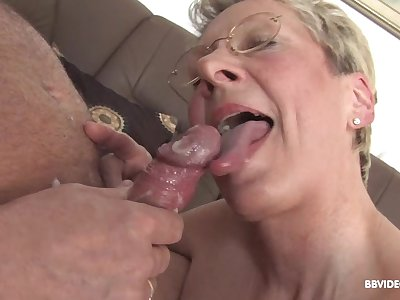 German mature with glasse on her knees sucking added to getting fucked