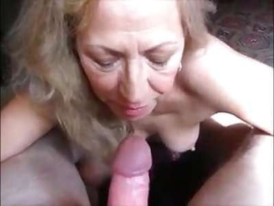 Blonde granny sucking hubby dick and drink cum