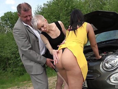 Mature shares whacking big inches with big ass babe